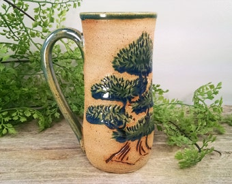 16 oz Dark Green Bonsai Tree Mug - Wheel Thrown and Hand Sculpted Coffee Cup