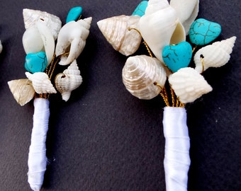 Sea shell boutonniere, Beach wedding  boutonniere, Lapel pin, Groomsmen buonhole