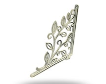 White Shelf Bracket with Leaf Design, Unique decortive Bracket for Displaying Art, Plants & Photos, Holds a Shelf or Makes Great Wall Art