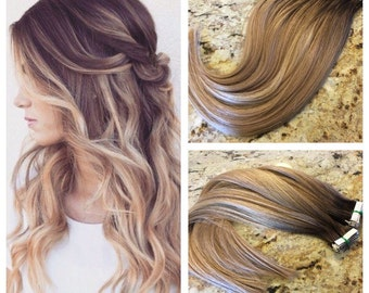 5 star balayage highlighted european remy tape in seamless 5 star european remy double drawn highlighted balayage tape in seamless weft 20 hair pmusecretfo Images