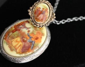 Vintage Locket and Ring Jewelry Set, Necklace Edwardian Scene Painting