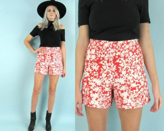 60s High Waisted Tap Shorts, Size Small, Red and White Floral Shorts, Textured, Size 26 Waist, Metal Zipper, Floral Print Cotton Shorts
