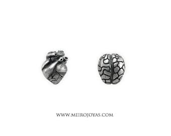 Brain & Heart Earrings Sterling Silver/ Pendientes Cerebro y Corazon Plata 925