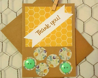 Beehive Themed Thank You Blank Card Set