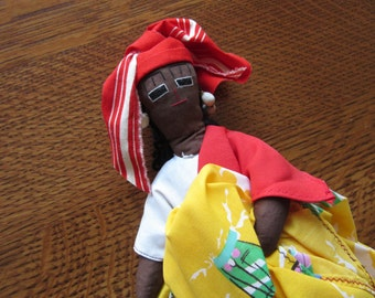 Tall Vintage Caribbean Souvenir Cloth Doll, St. Lucia, Ethnic, Folk Art, Cloth Doll, Palm Leaves,Islands, Native, Embroidered,Souvenir Dolls