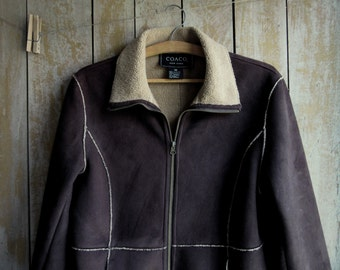Mod Vintage Dark Brown Car Coat, Faux Suede Jacket, Patchwork, Fleece/Shearling Style Lining, Coaco New York,Size M,Women's Retro Suede Coat