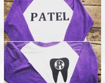 Tooth Monogram with name on back