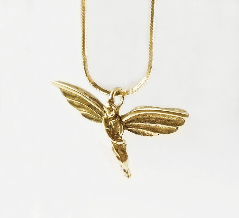 gold pendant 14k gold charm with necklace unique gold
