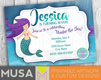 Mermaid / Digital, printable party invitation