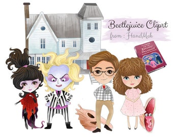 Beetlejuice characters clipart, Halloween clipart : instant download, PNG file - 300 dpi