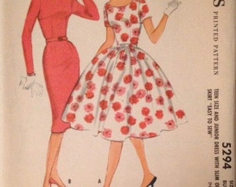 McCalls Pattern 5294 Junior Dress in Two Styles  Size 11 Bust 31-1/2""