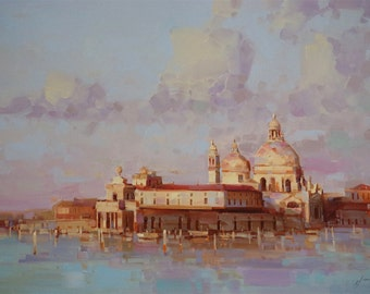 Venice  Cityscape Large Original Handmade oil Painting on Canvas 24x36 One of a Kind Impressionism Signed with Certificate of Authenticity