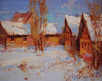 Winter, Landscape, Original oil Painting on Canvas  One of a Kind Impressionism Signed with Certificate of Authenticity