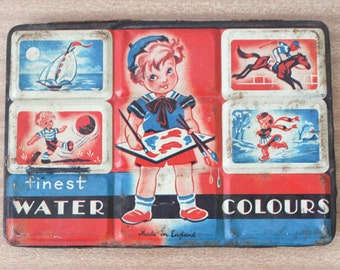 Vintage 1960s Water Paint Palette Girl Artist made in England