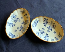 Antique dinnerware, pair of  butter dishes, two small blue and white dishes, Boch Frères Keramis Paon, BFK dinnerware service