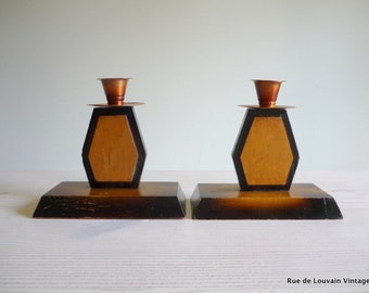 Pair of Art Deco wood and copper candle holders, Art Deco candle stick holders
