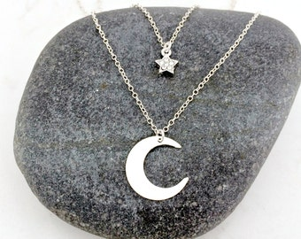 layered star and moon necklace moon pendant necklace star & celestial necklace cubic zirconia star necklace crescent moon celestial moon