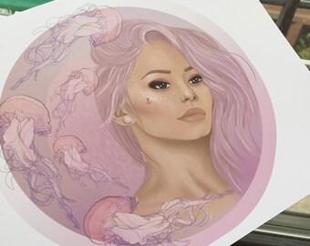 Digital Painting Print: Jaelyn With Jellyfish
