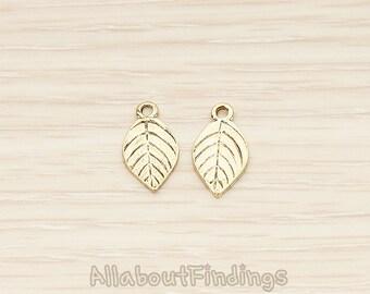 PDT1414-AG // Atique Gold Plated Mini Leaf Charm Pendant, 2 Pc