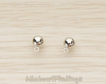 ERG362-R // Glossy Original Rhodium Plated 5 mm Round Ball Earpost, 2 Pc