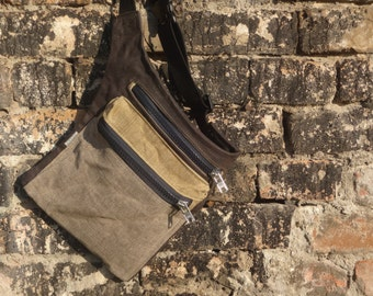 Hip Bag  Waxed Canvas Pouch Festival Bag Fanny Pack Travel Belt Canvas Waist Pack