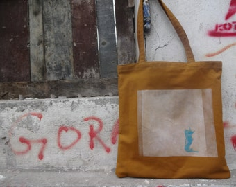 Christmas Gift / Cat Bag / Canvas Tote  Bag/ Urban Bag / Hand Printed  Bag / Canvas Bag  / Cotton Bag / Gift for Cat Lover / Gift For Her