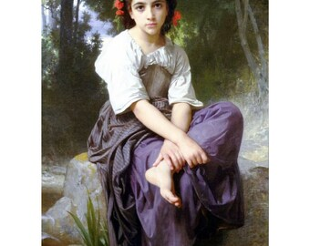 "Bouguereau William au bord du ruisseau-Edge of the brook, 8 x 10"" Poster print, Ultra Premium poster Paper"