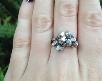 Sterling Silver Ajustable Geode Ring