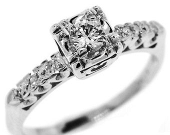 0.60 Cttw D VVS Round Brilliant Diamonds Engagement Ring in 14K White Gold