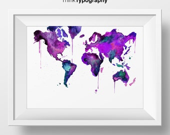 World Map Poster, Purple, World Map, Map, Travel Map, Map Art, Inspirational poster, home decor, wall decor, watercolor, watercolor print
