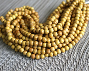6mm Natural Nangka Jackfruit - Round Premium Wood Beads - 15 inch strand - 4BR6-4