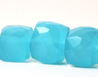 Blue Chalcedony Cubes, Sky Blue Faceted Gems, 8.3mm to 8.9mm, Half Strand Gemstone  3D Cube Gems KJ