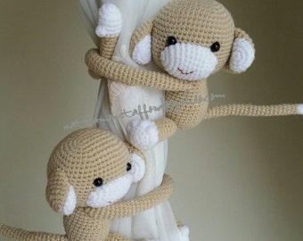 A pair of  Light Brown Monkeys Curtain Tiebacks, (MADE TO ORDER)