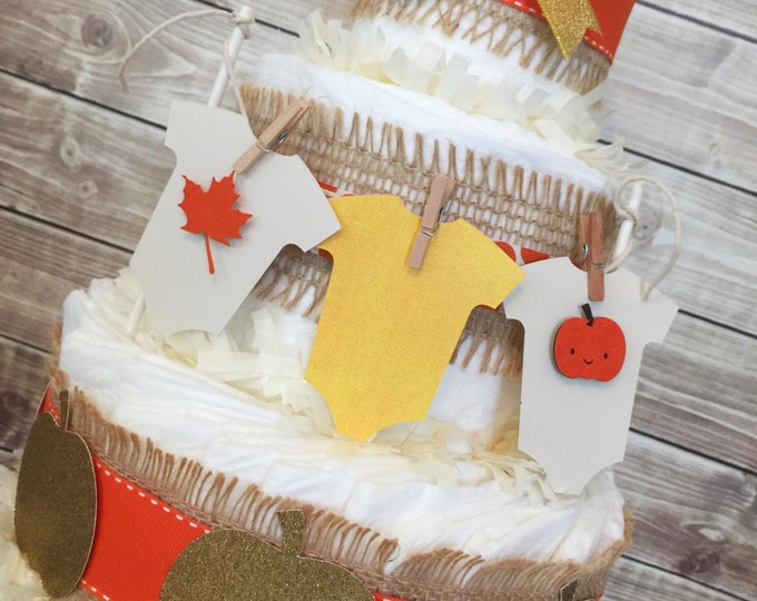 Featured listing image: Fall Themed Diaper Cake, Fall Baby Shower Centerpiece, Autumn Pumpkin Baby Shower Decorations