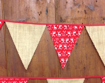 Nordic Christmas Bunting with red white reindeer and hessian ideal for festive celebrations and decoration 5 mt 19 feet 29 flags
