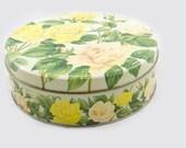 Vintage Yellow and Peach Tea Rose Tin, Huntley & Palmer Biscuit Tin,1930s Tin