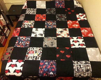 Full/Twin oversized Batman/Superman quilt