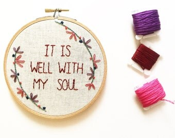 """5"""" It Is Well Embroidery Hoop"""
