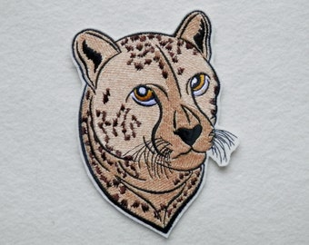 Cheetah,  Iron on Patch, Big Cat, Wild Cat, Large 4.5 x 6.25, Biker, Motorcycle,Tattoo, Embroidered Patch