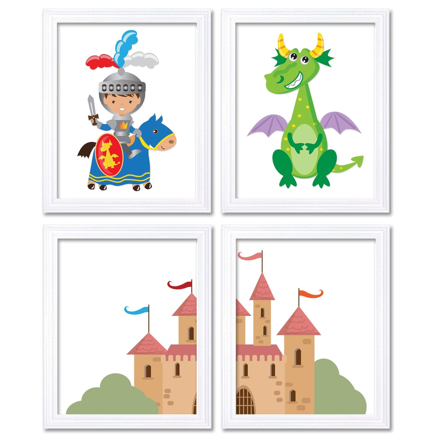 Fairy Tale Nursery Art Child Baby Set of 4 Art Prints Boy Knight Dragon Castle Kids Room Wall Decor