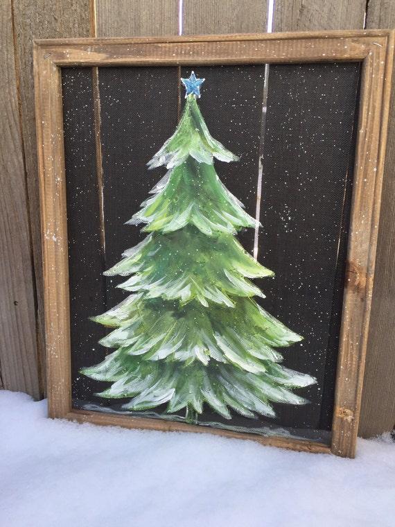Christmas treechristmas tree window screen art rustic