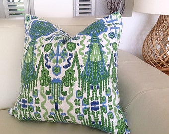 Ikat Pillows, Ikat Cushions, Blue and Green Pillows, Vibrant Colourful Cushions Toss Pillows, Cushions. Beach House Cushions