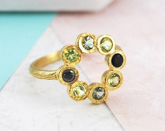 Tourmaline Ring, Gold Ring, October Birthstone Ring, Gemstone Ring, Birthstone Gift, Rosette Ring, Green Tourmaline, Precious Ring, Rustic