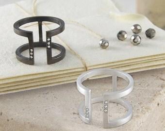 White Topaz Bar Ring, Gemstone Ring, Sterling Silver Ring, Designer Ring, Oxidized Silver, Geometric Ring, Adjustable Ring, Minimal Jewelry