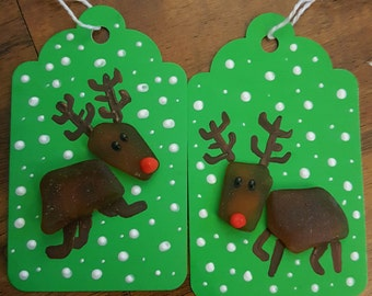 Rudolph Beach Glass Christmas Reindeer Gift Tags - Set of 6