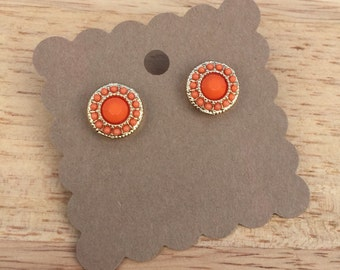 Orange Stud Earrings, Orange Earrings, Stud Earrings, Gold Earrings, Orange Jewelry, Orange and Gold Earrings, Orange Studs
