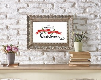 FREE SHIPPING! Have Yourself A Merry Little Christmas Print. 5x7/8x10. Red, green and black. Printable or professionally printed.