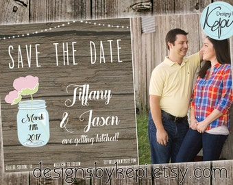 Save the date - Rustic Wood with photo