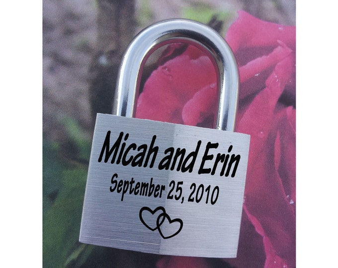 "ENGRAVED PADLOCK ""Love Lock"" Personalized, Wedding, Anniversary, Proposal, Gift"
