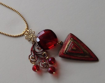 Red and Gold Vintaj Necklace